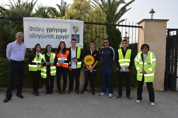 Road Safety Handing out leaflets